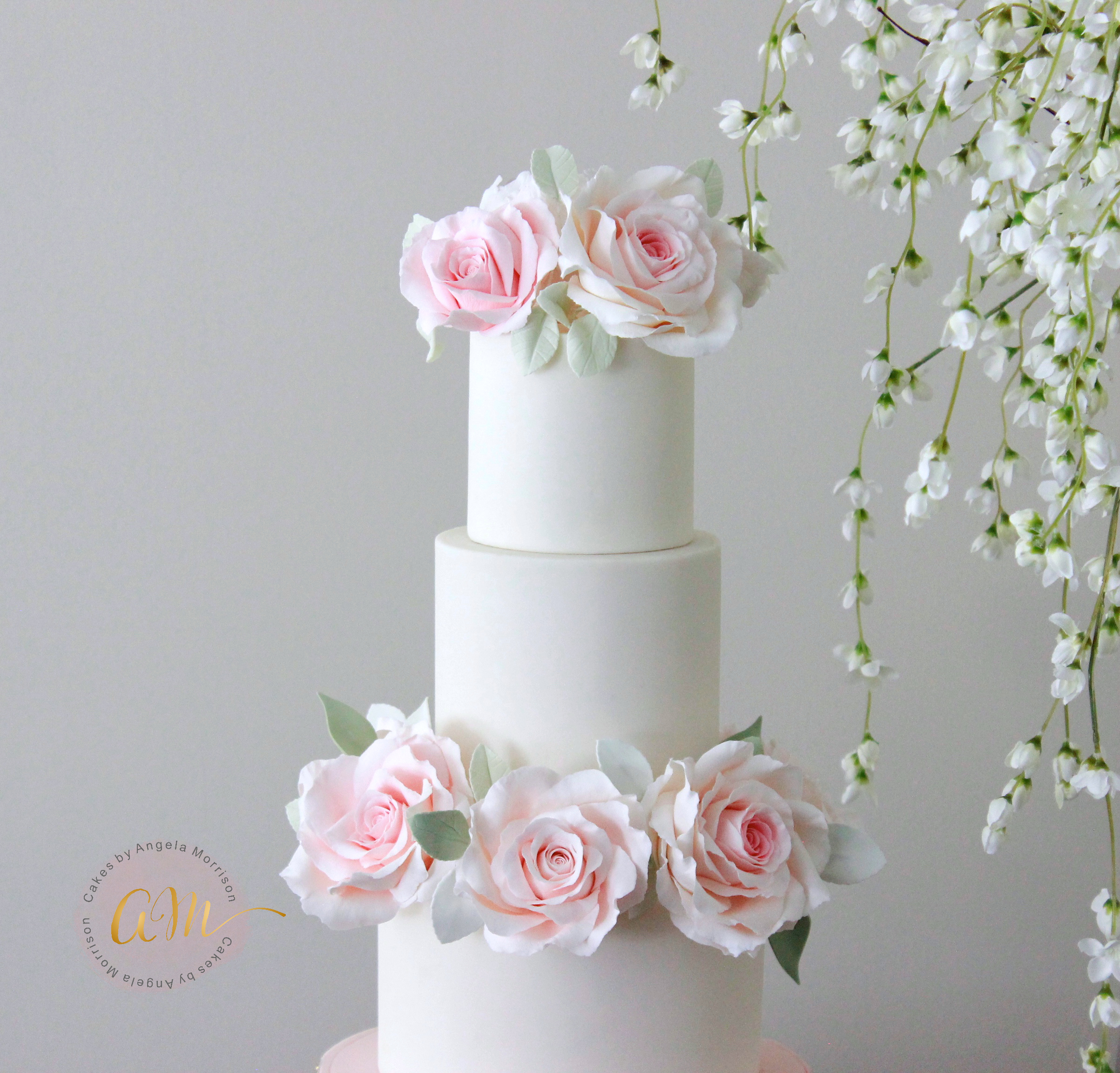 Angelas Signature Large Rose and Rose Bud Online Class Cakes by
